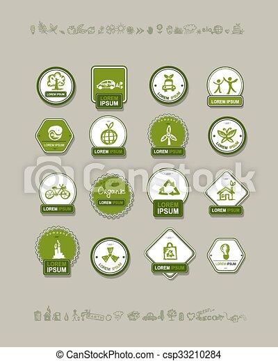 デザイン, エコロジー, セット, ラベル, あなたの - csp33210284
