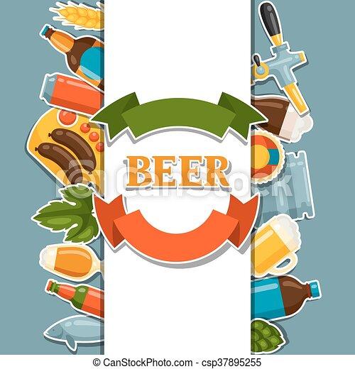 デザイン, ビール, オブジェクト, ステッカー, 背景 - csp37895255