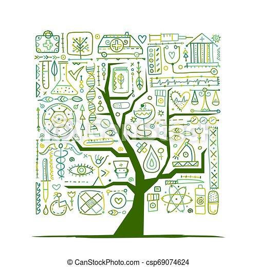 デザイン, 医学の概念, 木, あなたの - csp69074624