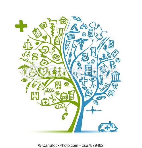 デザイン, 医学の概念, 木, あなたの - csp7879482
