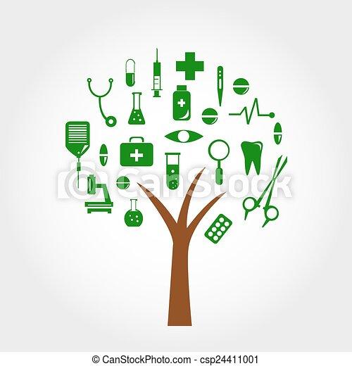 デザイン, 医学の概念, 木, あなたの - csp24411001