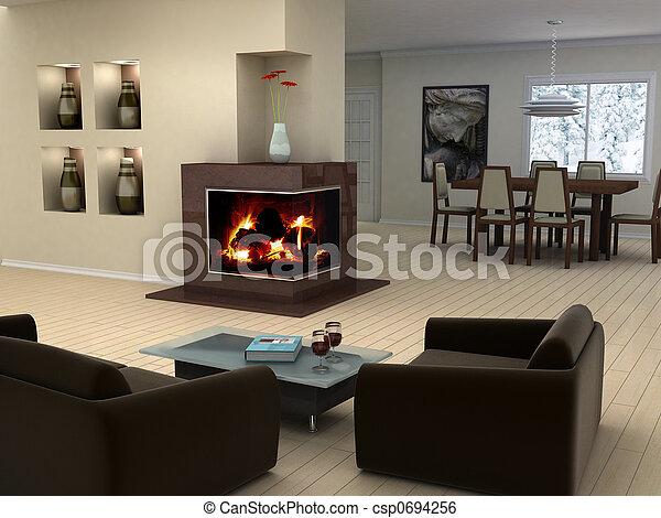 デザイン, 家に 内部 - csp0694256