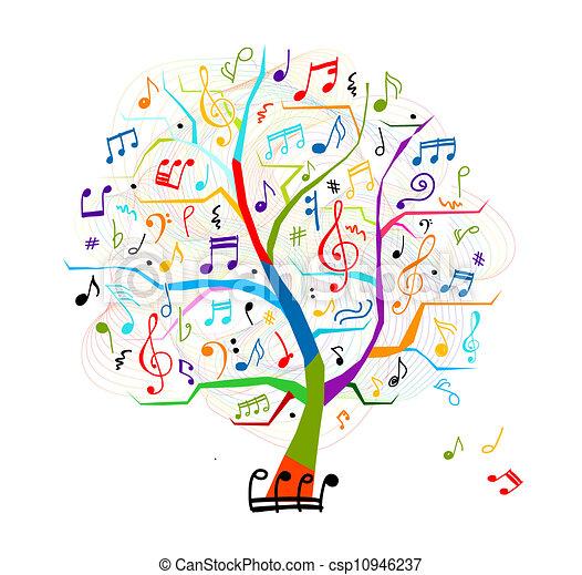 デザイン, 抽象的, 木, あなたの, ミュージカル - csp10946237