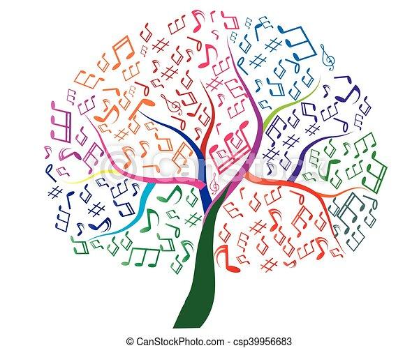 デザイン, 抽象的, 木, あなたの, ミュージカル - csp39956683