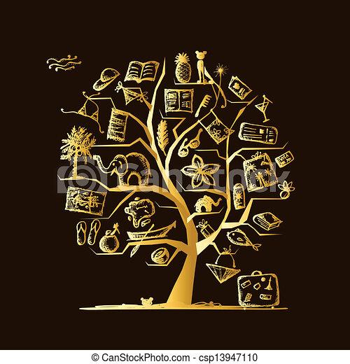 デザイン, 旅行, 概念, 木, あなたの - csp13947110