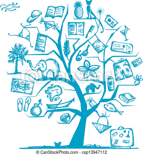 デザイン, 旅行, 概念, 木, あなたの - csp13947112