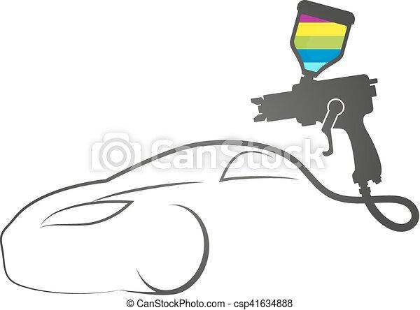 デザイン, 自動車, ペンキ, 銃, スプレー - csp41634888