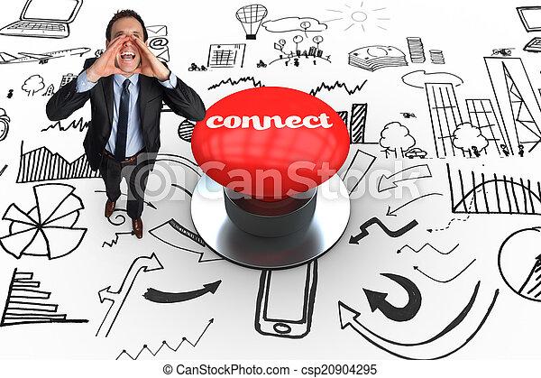 デジタル, ボタン, に対して, 発生させる, 連結しなさい, 押し, 赤 - csp20904295