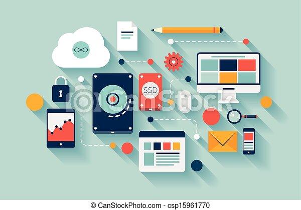 データ, 概念, 貯蔵, イラスト - csp15961770
