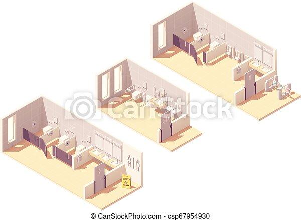 トイレ, 等大, 給料, ベクトル, 部屋, 公衆 - csp67954930
