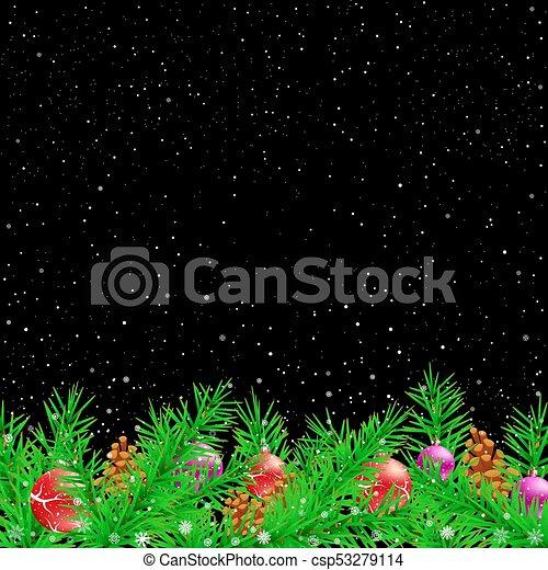 トウヒ, 黒, クリスマス, 背景, 夜 - csp53279114