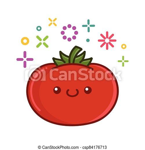トマト, イラスト, kawaii, 微笑, 漫画 - csp84176713