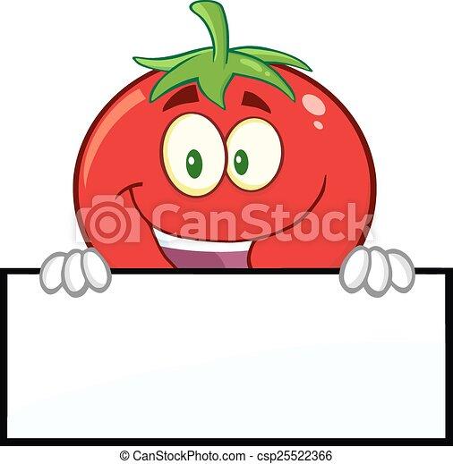 トマト, 上に, ブランク, 微笑, 印 - csp25522366