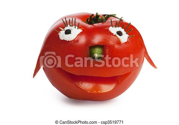 トマト, 面白い, 微笑 - csp3519771
