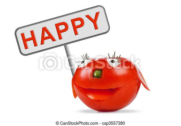 トマト, 面白い, 微笑 - csp3557380