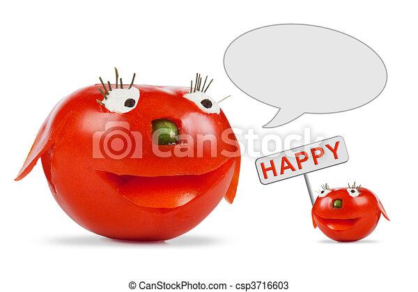 トマト, 面白い, 微笑 - csp3716603
