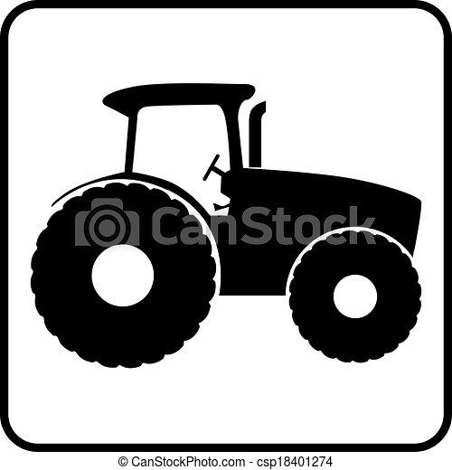トラクター, アイコン, シルエット - csp18401274
