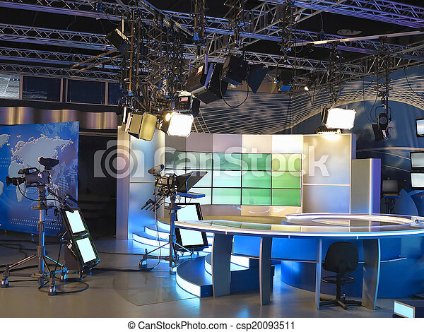 トラス, テレビ, cameras, 装置, そう, 専門家, スタジオ, スポットライト - csp20093511