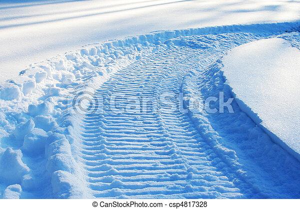 トラック, スノーモービル, 雪 - csp4817328