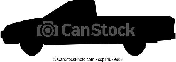 トラック, ピックアップ, シルエット - csp14679983