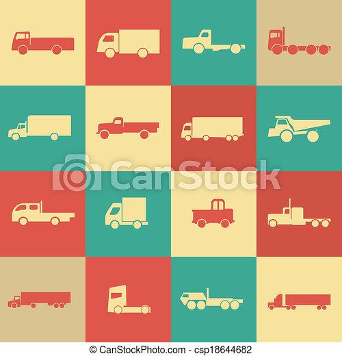 トラック, レトロ, 輸送, アイコン - csp18644682