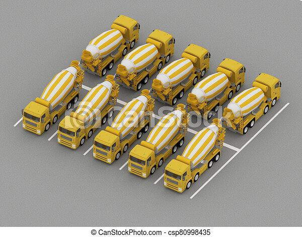 トラック, 駐車, コンクリート, ミキサー - csp80998435