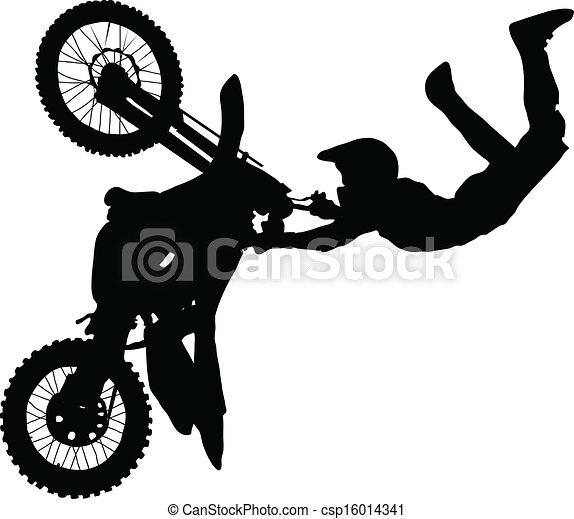 トリック, 実行, シルエット, オートバイ乗り手 - csp16014341