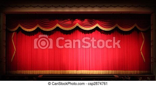 トリム, 劇場, ステージ, 背景, ドレープ, 明るい, 黄色, 型 - csp2874761