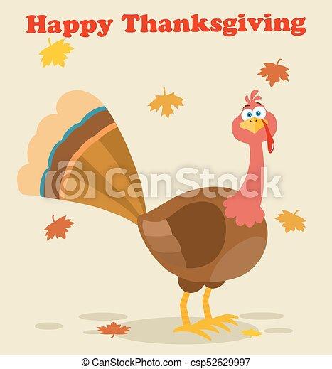 トルコ, 特徴, 感謝祭, 鳥, 漫画, マスコット - csp52629997