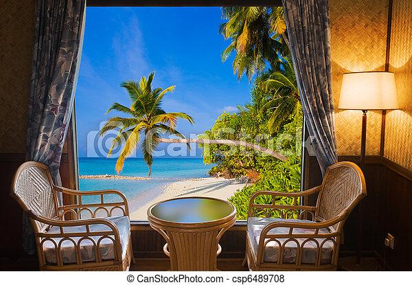 トロピカル, ホテルの部屋, 風景 - csp6489708