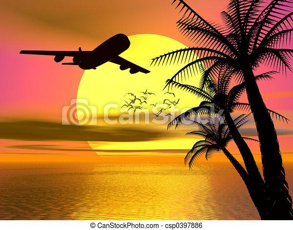 トロピカル, 日没, 飛行機。 - csp0397886
