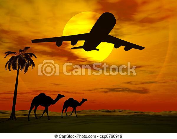 トロピカル, 日没, 飛行機。 - csp0760919