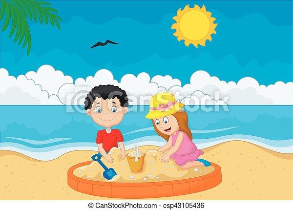 トロピカル, 砂ビーチ, 遊び, 子供 - csp43105436