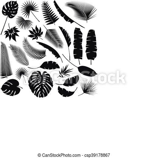 トロピカル, 葉, コレクション, 黒 - csp39178867