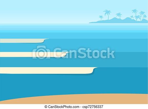 トロピカル, 青い背景, 海洋 波, 地平線, island., ベクトル, 海景 - csp72756337