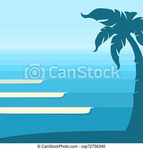 トロピカル, 青い背景, 海洋 波, 地平線, island., ベクトル, 海景 - csp72756340