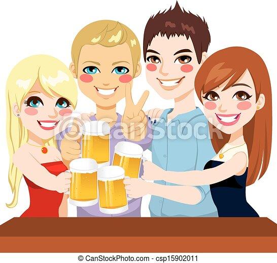 トースト, ビール, 友人, 若い - csp15902011