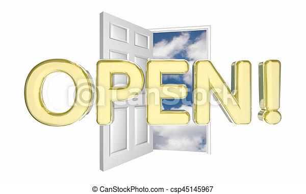 ドア, ビジネス, 開始, 単語, イラスト, 壮大, 新しい, 開いた, 3d - csp45145967