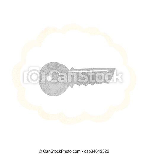 ドア, レトロ, キー, 漫画 - csp34643522
