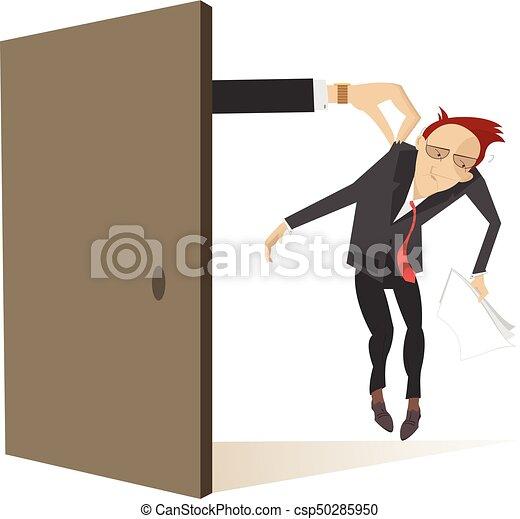 ドア, 取得, つば, 手, 悲しい, 現われる, 人 - csp50285950