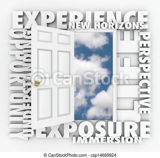 ドア, 地平線, 先導, 経験, 新しい, 機会, 開く - csp14669924