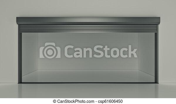 ドア, 自己, 貯蔵, レンダリング, ユニット, 開いた, 空, 3d - csp61606450
