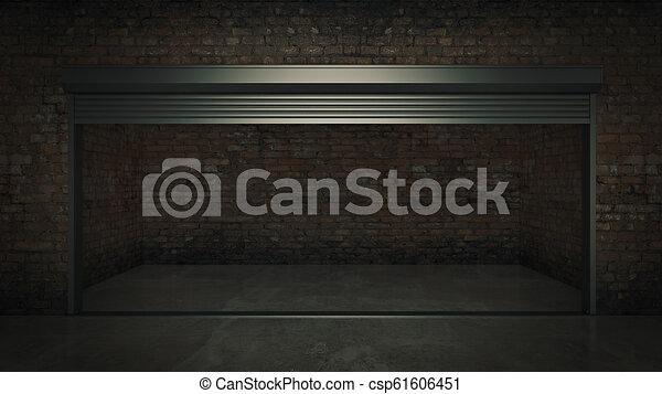 ドア, 自己, 貯蔵, レンダリング, ユニット, 開いた, 空, 3d - csp61606451