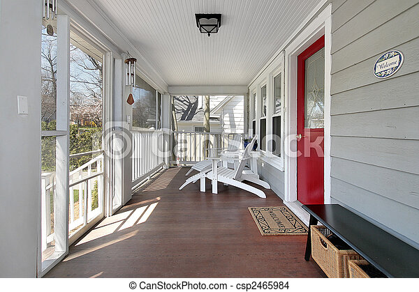 ドア, 赤, ポーチ - csp2465984