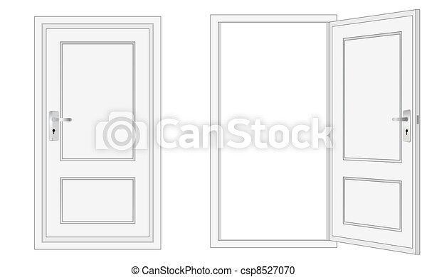 ドア, 開いた, 閉じられた - csp8527070