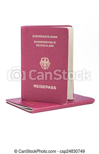 ドイツ語, パスポート, 旅行, 古い, 2 - csp24830749