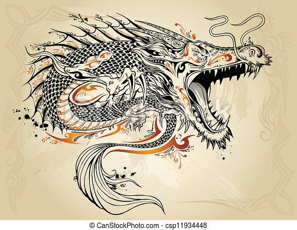 ドラゴン, いたずら書き, スケッチ, ベクトル, 入れ墨 - csp11934448