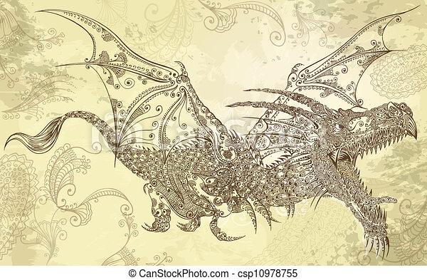 ドラゴン, 芸術, ベクトル, 入れ墨, henna - csp10978755