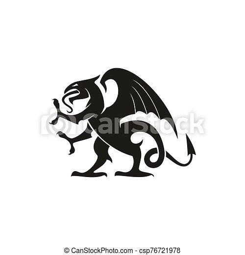 ドラゴン, 隔離された, 獣, 紋章学, gryphon, 動物 - csp76721978