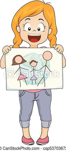 ドロー, イラスト, 私達の, 世界, 女の子, 幼稚園, 子供 - csp53703672